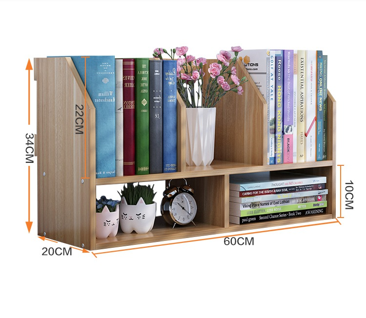 60*20*34CM Solid Wood Bookcase Portable Desktop Bookshelf Modern Office Book Shelf ...