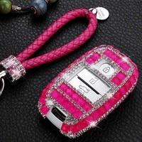 3 Button Luxury Diamond Jewelry Car Key Case Cover for Kia KX5 K3S Optima Carnival K2 K3 KX3 K4 K5 Sportage R Sorento Cerato Rio
