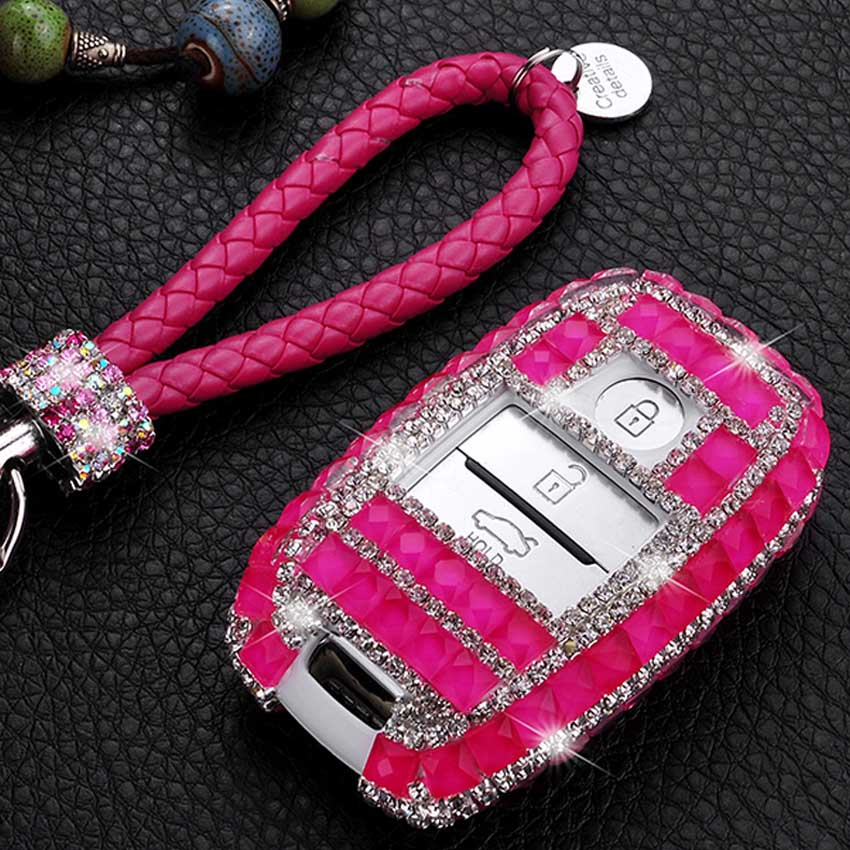3 Button Luxury Diamond Jewelry Car Key Case Cover for Kia KX5 K3S Optima Carnival K2 K3 KX3 K4 K5 Sportage R Sorento Cerato Rio