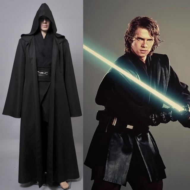Movie Star Wars Jedi Costume Anakin Skywalker Cosplay Costume Halloween Outfit Black Cloak For Adult Men  sc 1 st  AliExpress.com & Movie Star Wars Jedi Costume Anakin Skywalker Cosplay Costume ...