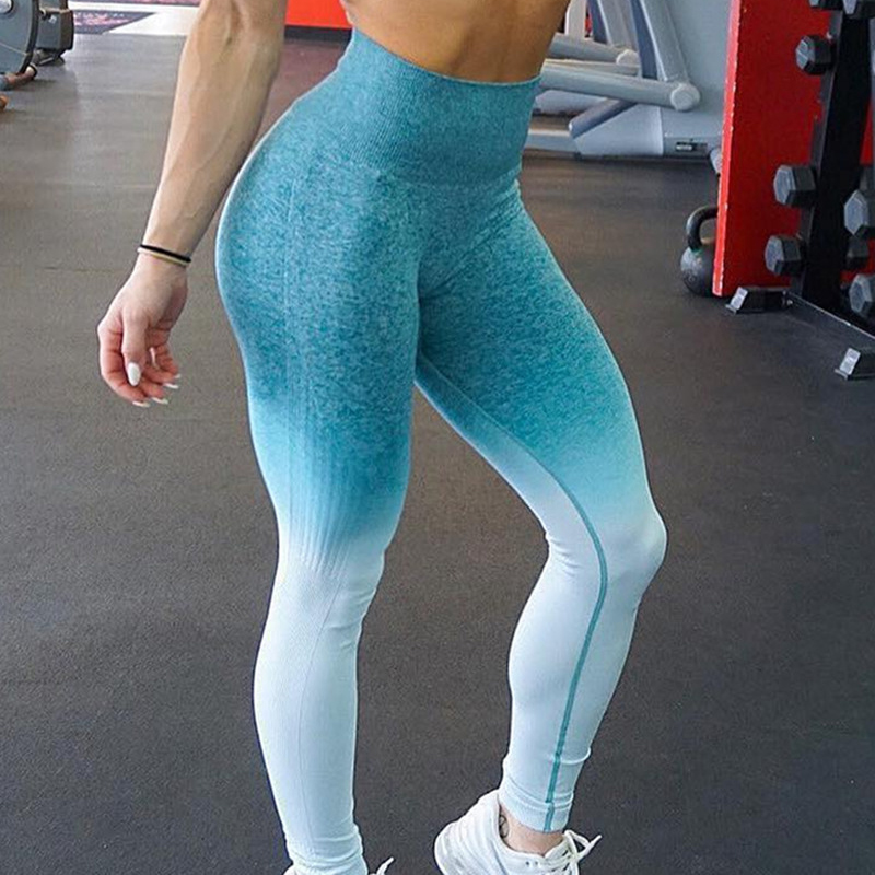 Push Up Yoga Leggings Compression Tights Slim Ombre Seamless Gym Leggings