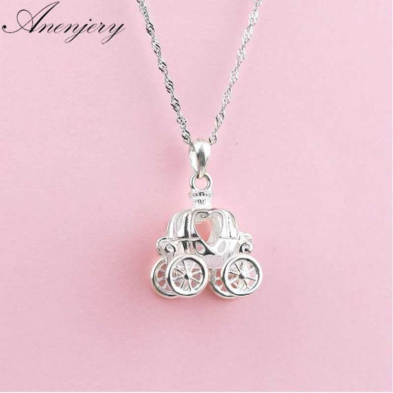 Anenjery 925 Sterling Silver Necklace For Women Cinderella Delicate Dream Pumpkin Car Pendant Clavicle Chain Necklaces S-N213