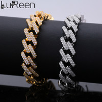 Lureen Hip Hop Cuban Chain Bracelet Gold Silver Chian Bracelet Rapper Jewelry Fashion Gift