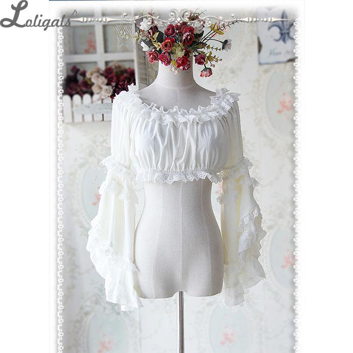 Sweet Detachable Flare Lace Sleeve Chiffon Blouse Ruffled Short Women s Crop Top White Black Ivory