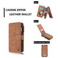 Genuine Leather Detachable Magnetic Removable Zipper Wallet Case For IPhone Luxury Multi Functional Wallet Case