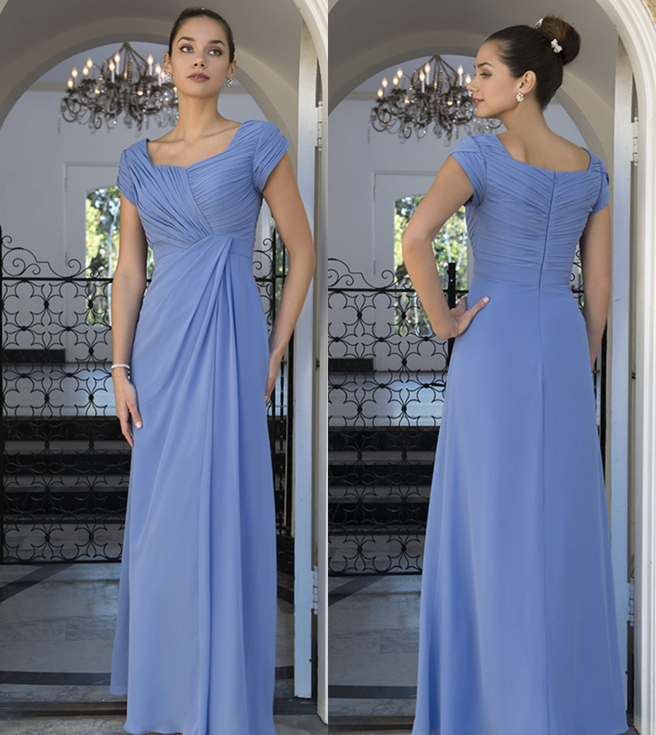 2019 Blue Chiffon Long Modest Bridesmaid Dresses With Cap
