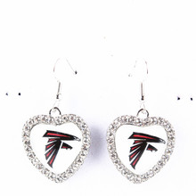 2pairs/lot American Football Atlanta Falcons Team Dangle Charms Earrings For Women Crystal Dangling Earring Jewelry