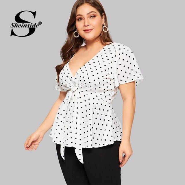 Sheinside Plus Size White Elegant Polka Dot Print Top Women 2019 Summer V Neck Knot Front Blouse Ladies Flared Hem Trim Tops 4