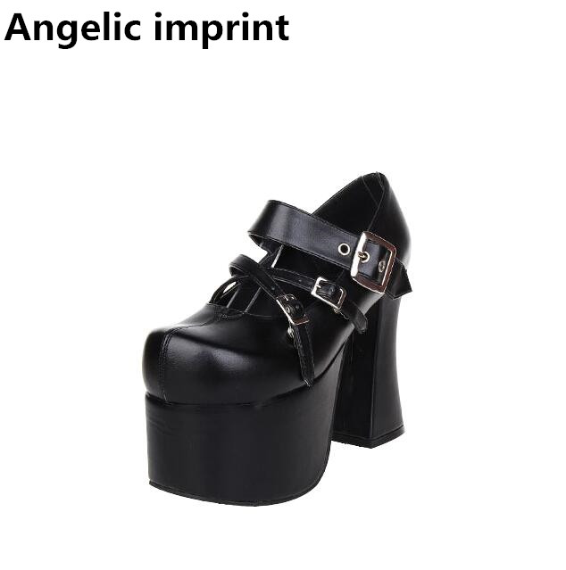 timeless design bc1b9 6c364 US $49.88 14% di SCONTO|Angelic impronta donna mori ragazza lolita scarpe  cosplay della signora super tacchi alti pompe donne vestito dalla ...