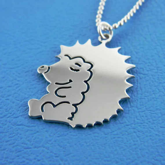 Cute Hedgehog Pendant Necklace Personality Animal Necklaces High Polished Stainless Steel Jewelry Christmas Gift for You YP3948