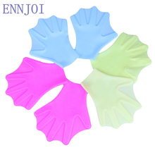 1 Pair Webbed Gloves Finger Hand Paddle Silicon Swimming Fins Unisex Swimming Diving Flippers Paired Paddles