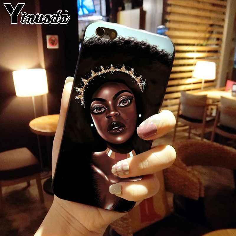 Yinuoda coque iphone 11 11pro 最大 funda アフリカ美容アフロパフブラックガールメラニンポッピンのための iphone X XS 最大 8 7 プラス 5S 6s XR カバー
