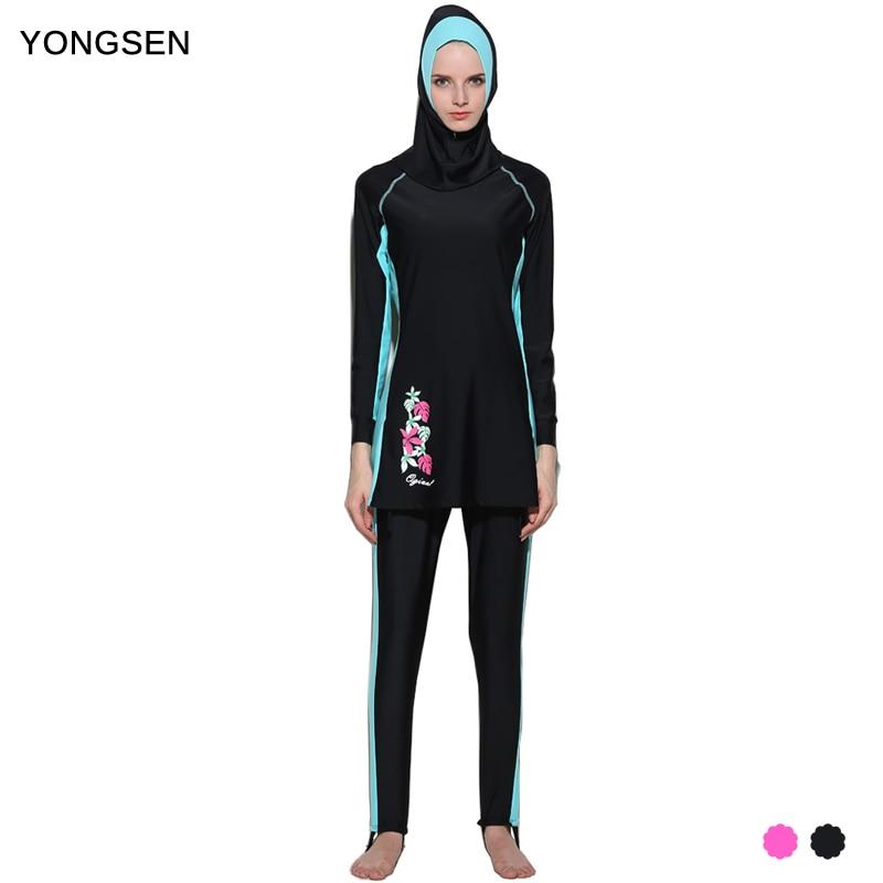 YONGSEN nők hosszú ujjú Musulman Burkinis muszlim fürdőruha iszlám fürdőruha teljes arc hidzsáb úszás Beachwear sportruházat