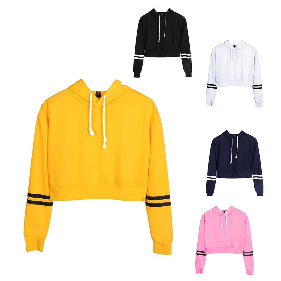 FRDUN TOMMY Women Fashion Sweatshirt Girl Bare Midriff Crop Hoodie Sweatshirt Jumper Crop Pullover Tops Dropshipping Clothes