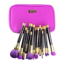Pro 15pcs Soft TZ Cosmetic Makeup Brush Set Purple/Green Foundation Powder Brushes with Bag