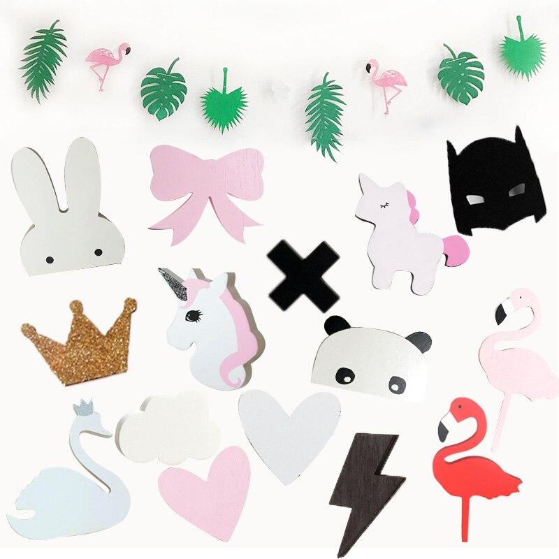 US $1.59 |Ins Holz Kinderzimmer Kleidung Haken Wand Aufkleber Flamingo  Schwan Einhorn Kreuz Kaninchen Fledermaus Bunny Bogen Aufhänger Haken Hause  ...