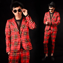 Wedding Suits with Pants Retro Scotland Red Plaid Blazer Mens Floral Jacket Prom Party Dress M-3XL Slim Fit 2019 Fashion