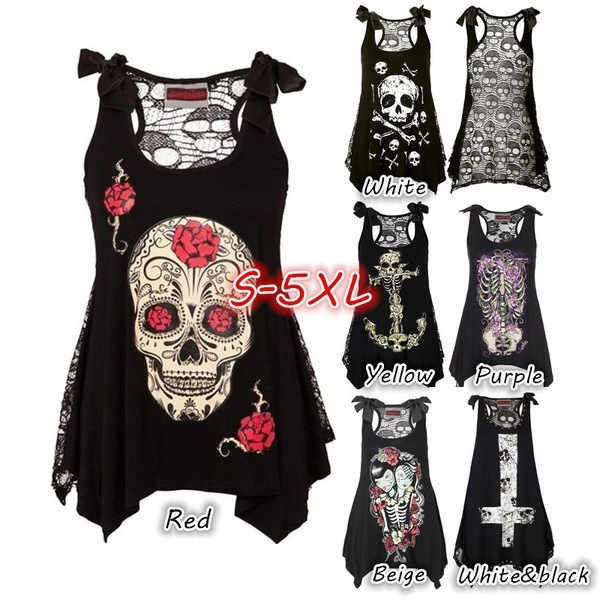 Halloween Skull Head Print Tunic Tops