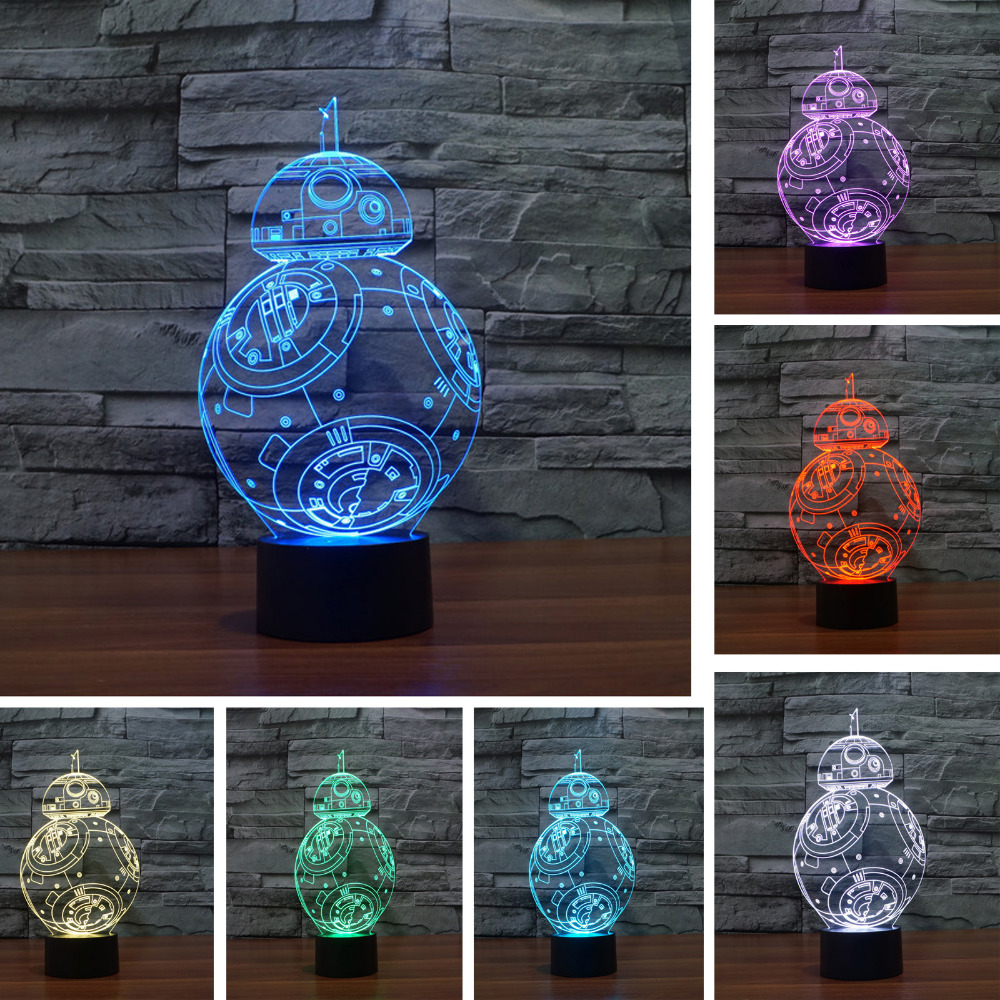 Star war BB 3D USB Led night light 7 color changing Christmas Mood touch kid children