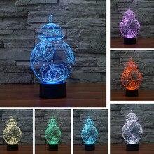 Star war BB 3D USB Led night light 7 color changing Christmas Mood touch kid/children living/bedroom table/desk Lamp lighting