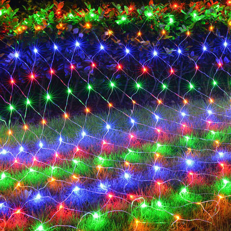 Thrisdar LED Net Mesh Christmas Fairy Light String 1.5X1.5M 2X2M 3X2M 6X4M Outdoor Garden Wedding Party Xmas Tree Holiday Light