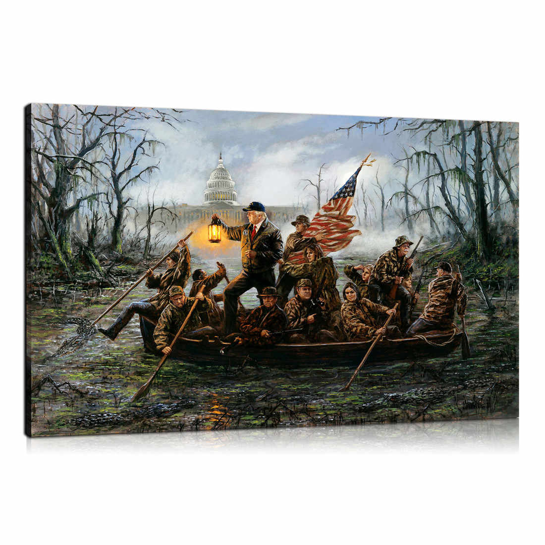 Trump ,Crossing ,The Swamp 1P Paintings Print on Canvas HD Abstract Canvas Painting Office Wall Art Home Decor Wall Pictures