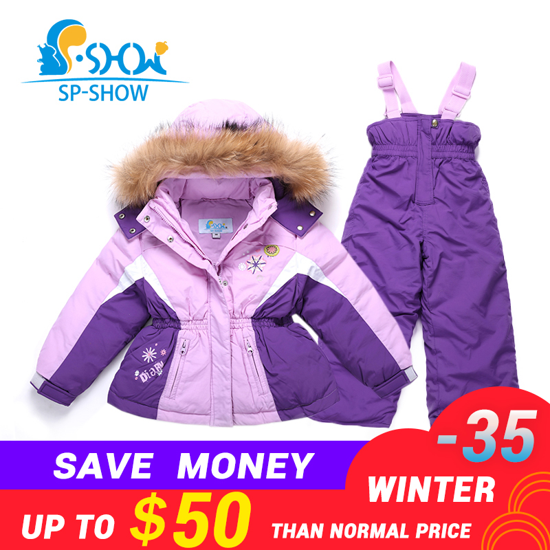 -30 Degrees SP-SHOW Winter 90% White Down Suit Nature Fur Hat Two-piece Suit With High 3-7 Age