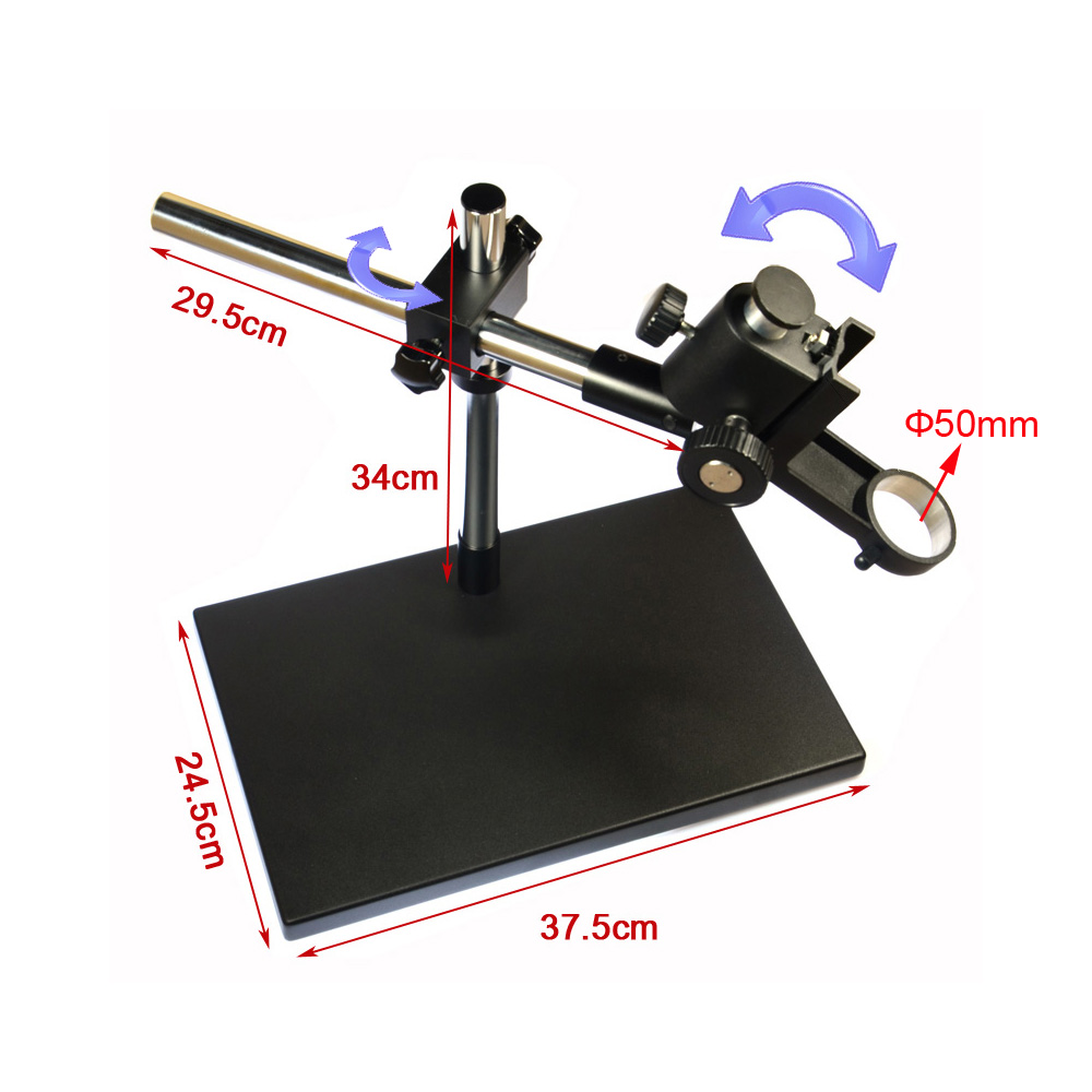 Dual-arm Heavy Duty Boom Stereo Metal Table Stand 50mm Ring Holder Universal Large Table Stand for Industrial Microsocpe na4910 heavy duty needle roller bearing entity needle bearing with inner ring 4524910 size 50 72 22