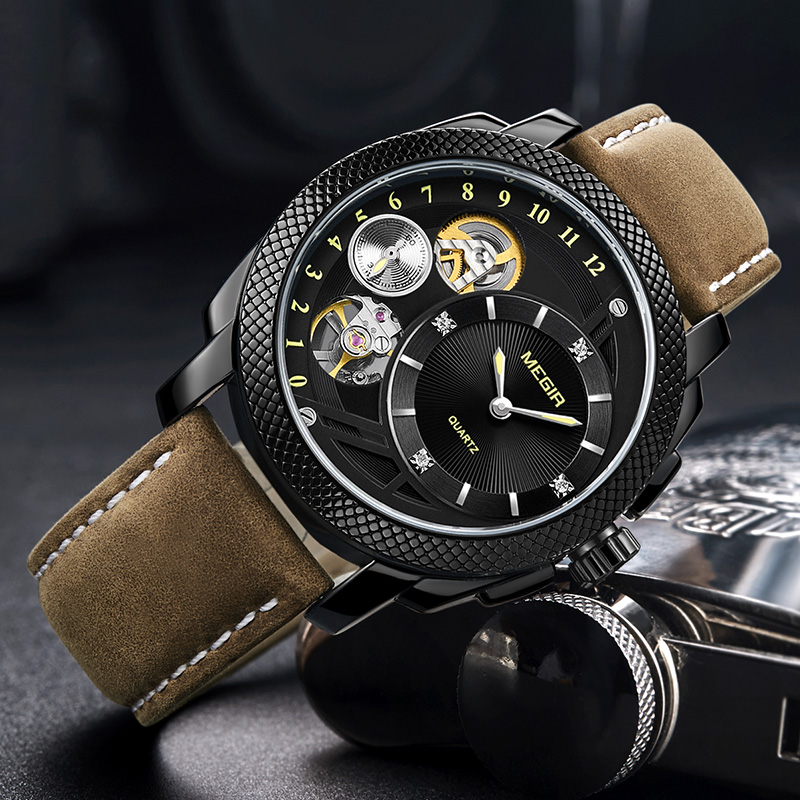 MEGIR Fashion Men Watch Top Brand Luxury Sport Quartz Wristwatches Leather Strap Army Military Watches Men