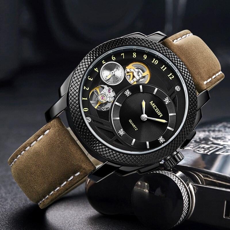 MEGIR mode hommes montre Top marque de luxe Sport Quartz montres bracelet en cuir armée militaire montres hommes horloge Erkek Kol Saati