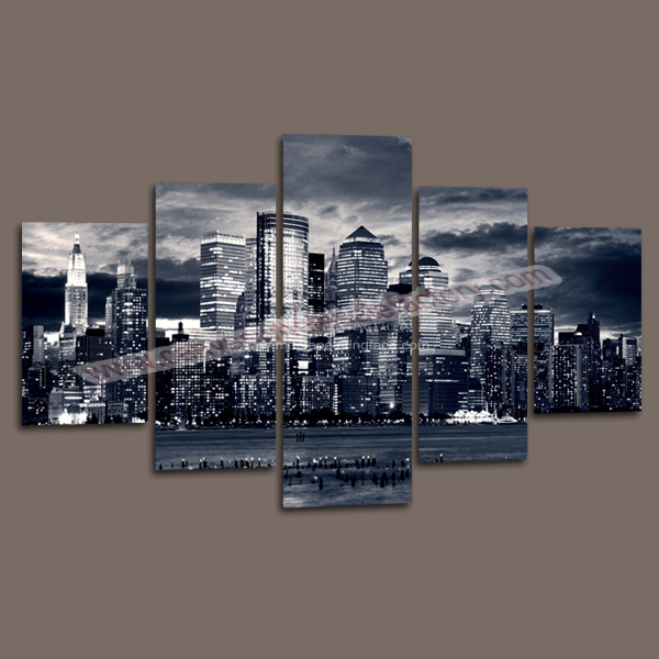 5 panel canvas art painting of new york city building decorative painting for modern home decoration