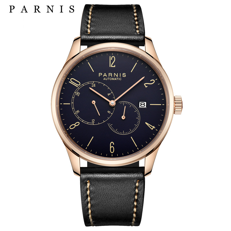 2017 Hot Sale Parnis Brands Bussiness Watch Men Leather Men s Mechanical Watches Automatic Auto Date