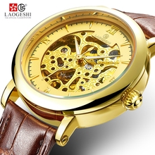 LAOGESHI 3682 golden hollow mechanical mens watch leather strap sports gentleman waterproof top brand luxury male wristwatch