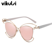 New Rimless Steampunk Sunglasses Women Men Vintage Cat Eye Brand Design Sunglass Female Metal Hollow Frame Mirror Oculos De Sol