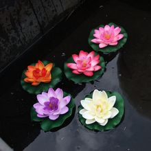 Floating Artificial Lotus Ornament Micro Aquarium Fish Tank Pond Water lily Lotus Simulation Flowers Park water surface Decor(China)
