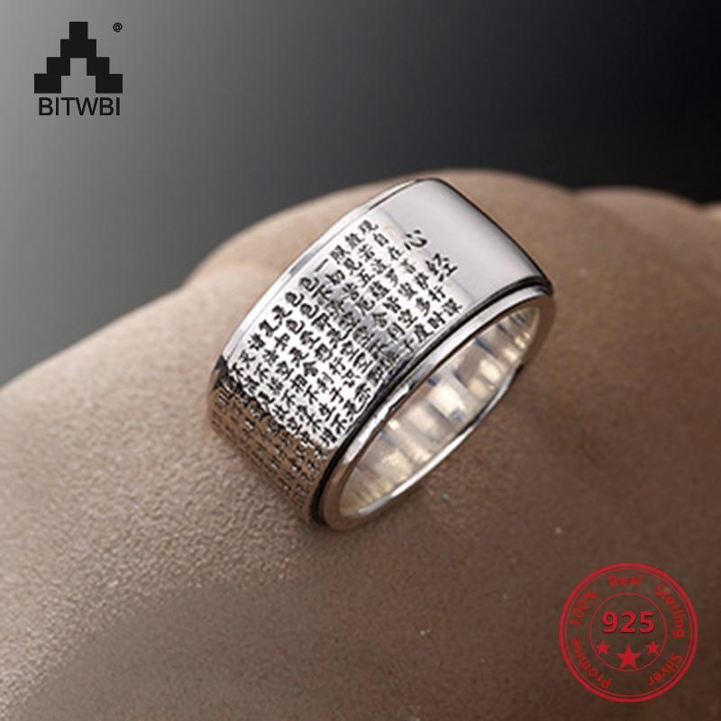 100% véritable argent 999 coeur Sutra anneau pour femmes hommes grands anneaux larges bouddha lettres chinoises clair gravé Vintage bijoux