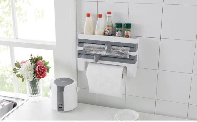 1PC Multi functional 6 in 1 Aluminum Film Paper Towel Holder Wrap Cutter Spice Jar Holder Kitchen Storage Shelf Rack OK 0728 in Storage Holders Racks from Home Garden