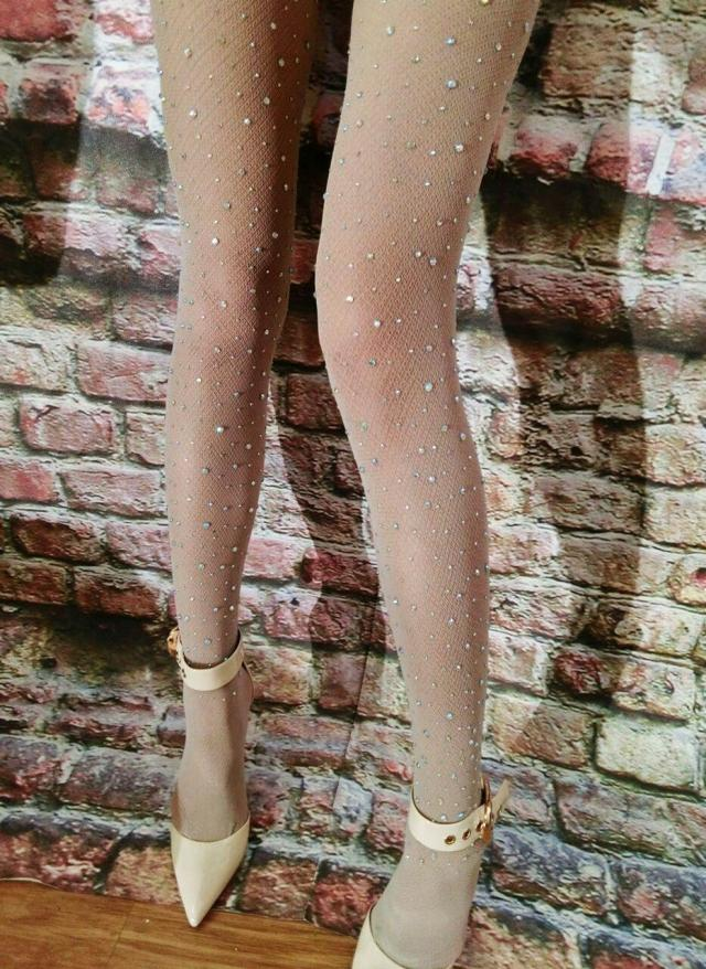 Female Singer Female Dj ds Sparkling Diamond Socks Fashion Skin Color Black Star Handmade Rhinestones Rompers Fishnet fishnet ankle socks