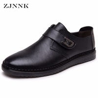 ZJNNK Fashion Hook Loop Men Casual Leather Shoes Handmade British Style Chaussure Homme Zapatos Hombres Trendy