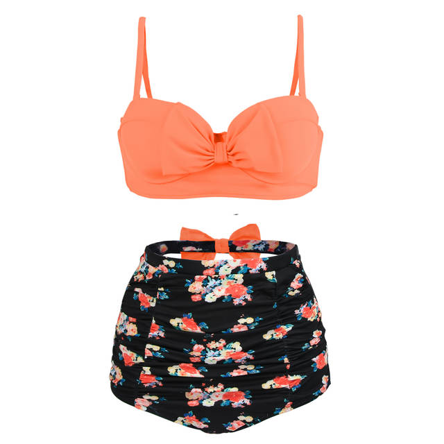 774d745585 Online Shop Orange Bikini Women Swimwear Plus Size Cute Bow Swimsuit High  Waist Vintage Floral Beach Bathing Suits Biquini Large Size Bikini