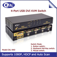 CKL 4 Port Auto DVI KVM Switch Switcher for Keyboard Video Mouse with Audio Support 1920*1200 Resolution DDC2B