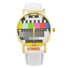 MJARTORIA Television Pattern Women's Watches TV PU Leather Clock Quartz Wristwatches Fashion Casual Watch For  Ladies