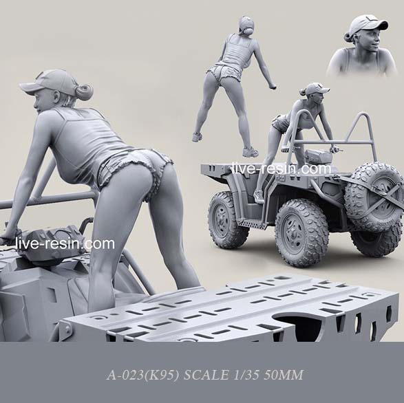 1/35 Resin Kits Modern Terrain Vehicle Beauty Driving Resin Soldier (50mm)  Self-assembled A-023