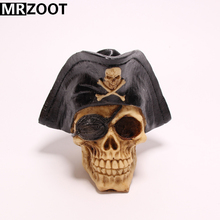 MRZOOT Gothic Punk Horrifying Pirate Skull Sculpture Resin Crafts Home Decoration and Halloween Festival Party