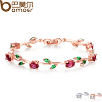 BAMOER 18K Rose Gold Plated Leaf Chain Link Bracelet With Red Green AAA Zircon For Mother