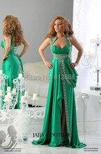 Mode Vestidos Spitze Perlen High Neck Open Back Sexy Abendkleid Sweep Zug A-line Abendkleider mit echt bild