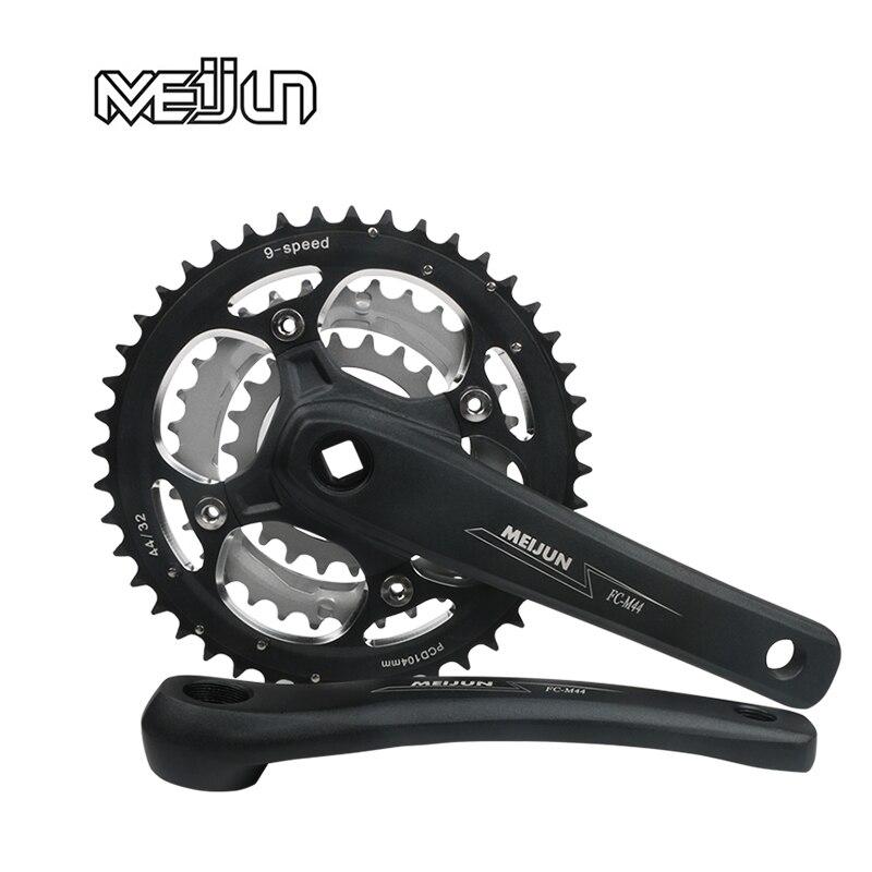 MEIJUN 9//27 Speed hollow Crankset 22//32//44T 104bcd MTB Bike Chainring BB Crank