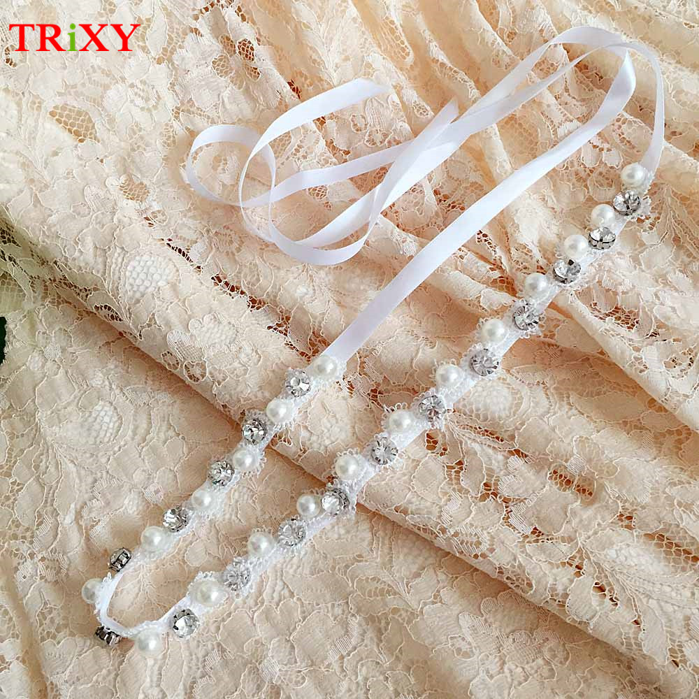 Wedding Gown Belts And Sashes: TRiXY B71 Rhinestones And Pearl Thin Wedding Belts Sash