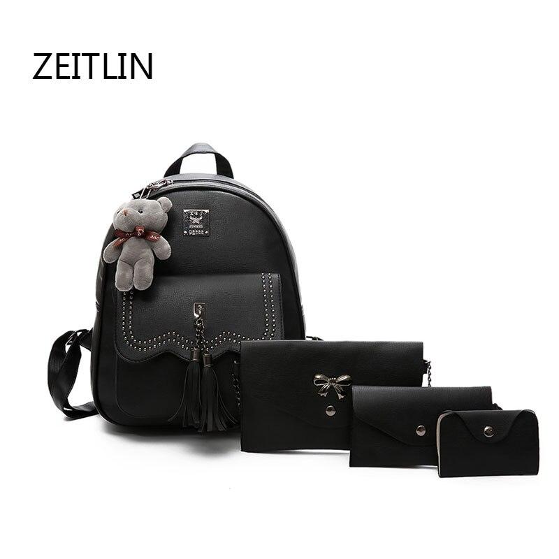 PU Leather Backpack for Girls Female Design Tassel Large Knapsack School Shoulder Bag Vintage 4 Pcs/Set Bagpack mochila T1505 faux leather tassel backpack set