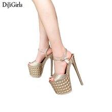 20cm salto gladiador sandálias mulher stripper sapatos verão casamento festa sapatos moda stiletto plataforma salto alto sandálias de ouro